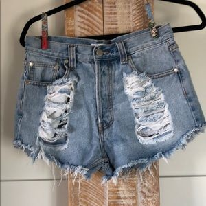 Mink Pink Distressed Jean Short